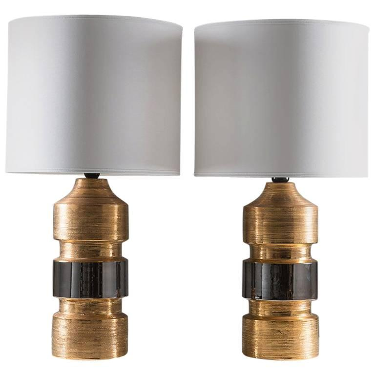 Pair of Ceramic Table Lamps by Bitossi for Bergboms