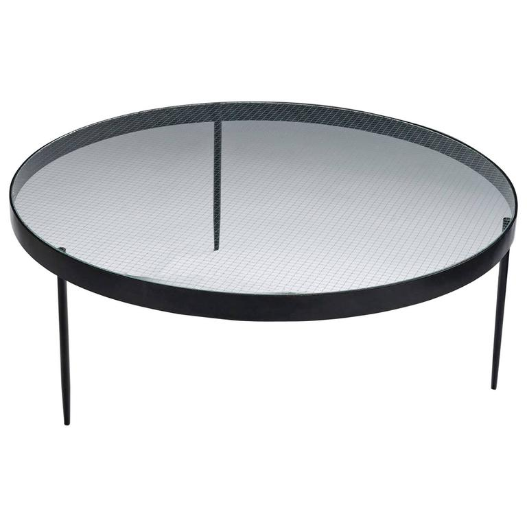 Charmant Jannie Van Pelt Glass And Steel Cocktail Table For Sale