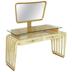 Elegant Dressing Table with Mirror Wood Parchment Glass Vintage Italy, 1950s