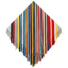 Textile Wall Art. Colorful yarn threads on linen.