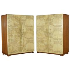Two Wardrobes Mahogany Parchment Paper Vintage Italy, 1950s