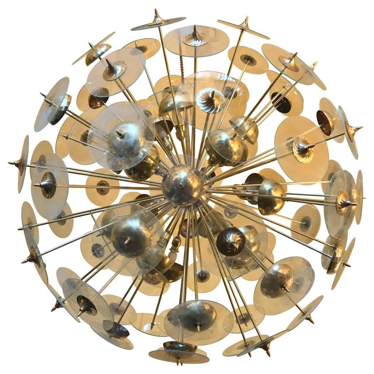Mid-Century Modern Large Italian Brass & Transparent Glass Sputnik Chandelier