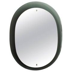 1960´s Gray Green Italian Mirror, chrome-plated brass hardware - Italy