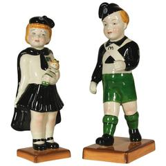 Pair of Ceramic Small Statues by Antonio Zen Ceramiche Giovani Balilla, 1930s