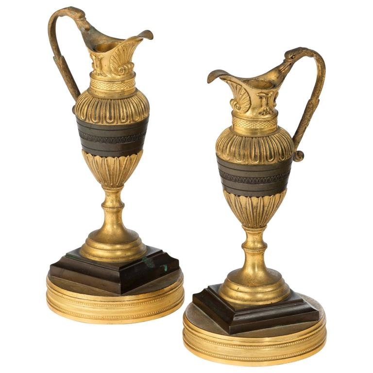 Pair of 19th Century Bronze and Ormolu Neoclassical Ewers