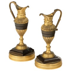 Pair of 19th Century Bronze and Ormolu Neoclassical Ewers