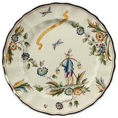 Water-Carrier Earthenware Flat Dish by Gio Ponti with Central Scene, Italy 1930s