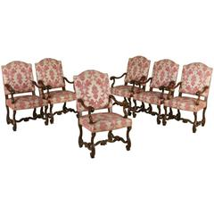 Important Six Armchairs Group Liguria, Italy, First Quarter of the 18th Century