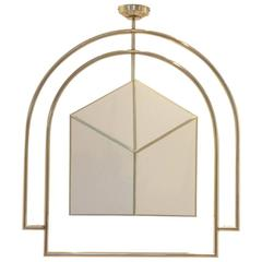 French Art Deco Double Arch Shaped Full Brass and Textile Hotel Chandelier