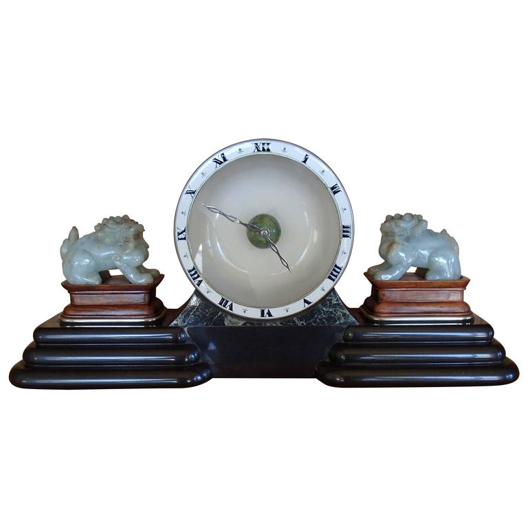 Art Deco Table Clock with Chinese Jade Dogs by Guebelin Lucern Various Marbles