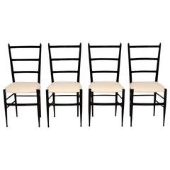 Set of Four Retro Italian in Gio Ponti Style Dining Chairs, Vintage