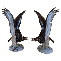 Pair of Herend Porcelain Eagles