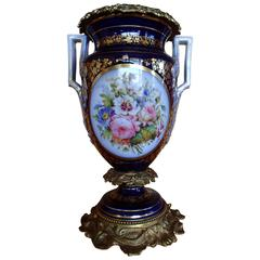Napoleon III Amphora Shaped Porcelain Sèvre Vase with Bronze Parts