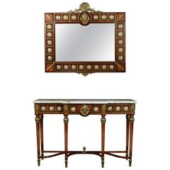 Louis XVI Revival Breakfront Console Table and Wall Mirror by H & L Epstein