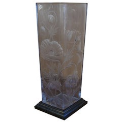 Art Deco Baccarat Vase with Engraved Poppy Flowers Bronze Base Gold-Plated