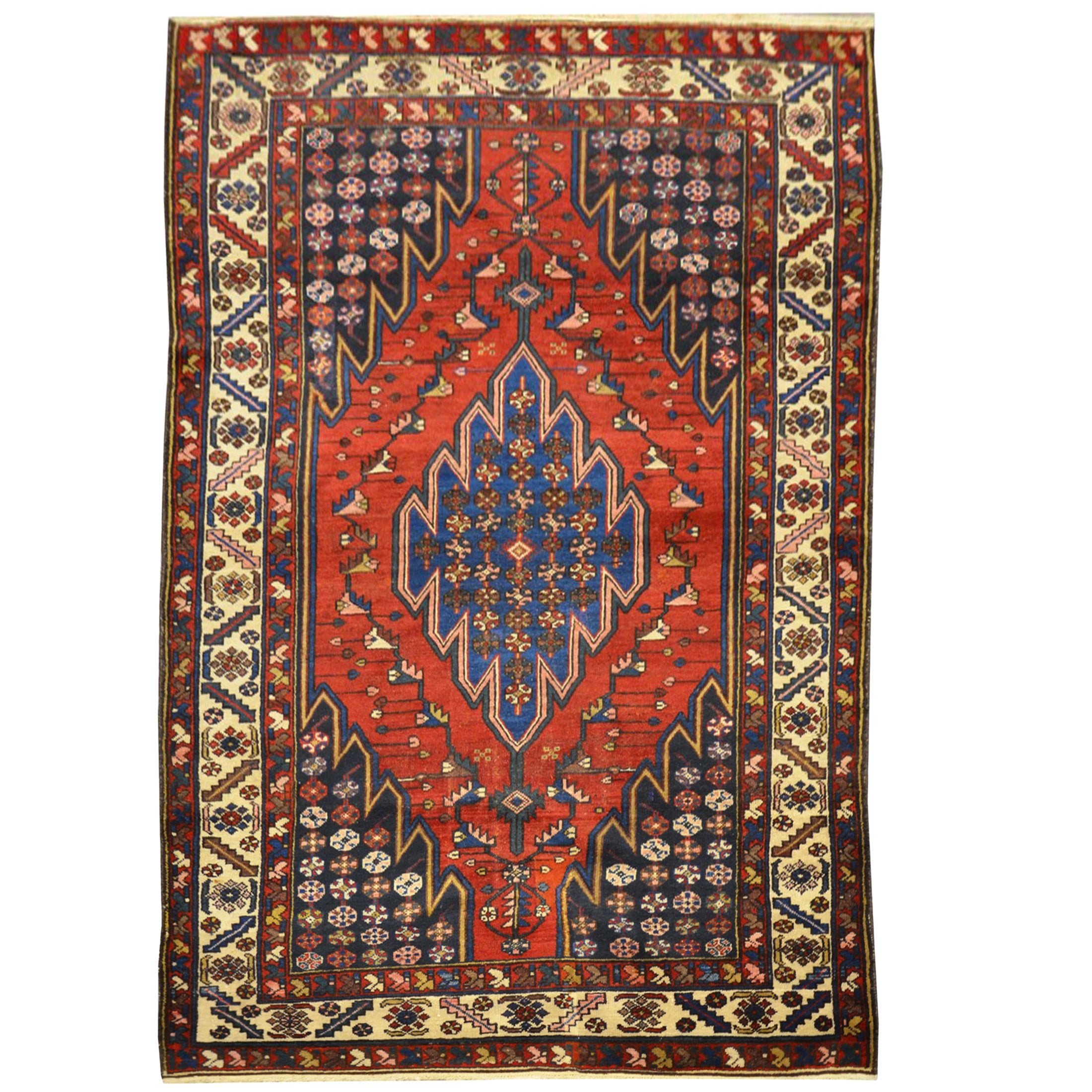 Persian Meshed Wool Rug Over Red Ground And Classic Design,