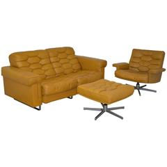 Vintage De Sede DS-P reclining Sofa Set in Cognac Leather, 1970s
