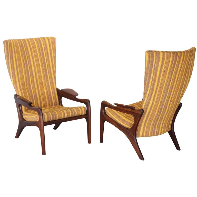 Pair of Original Adrian Pearsall Wingback Chairs, 1960s 1