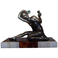 Art Deco Figurine Dancer Bronze on Marble