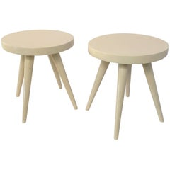 Pair of Modern White Lacquered Stools in the Manner of Charlotte Perriand