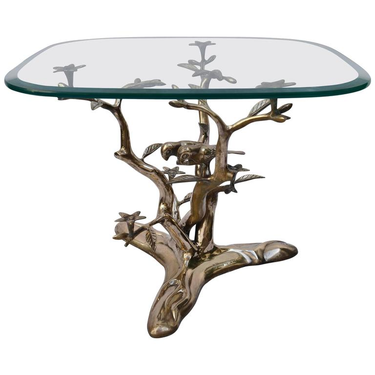 Spectacular Willy Daro Style Brass Tree Coffee Table