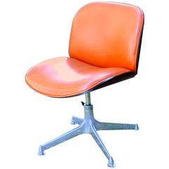 Rosewood Desk Swivel Chair with Leather Seat by Ico Parisi for MIM