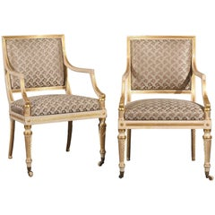 Pair of 19th Century Regency Style Painted & Giltwood Arm Chairs