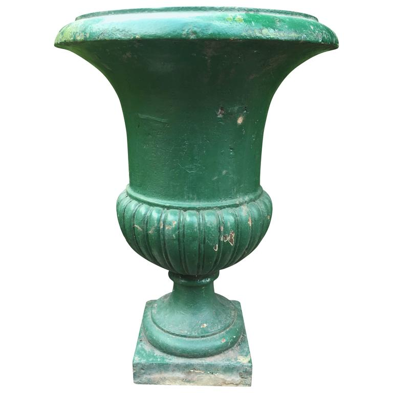 Large French, 19th Century Cast Iron Campana Urn