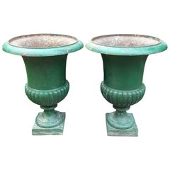 Pair of Large Classic 19th Century French Cast Iron Campana Urns