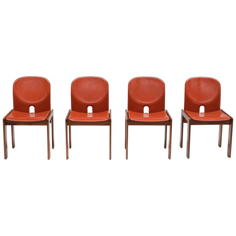 Four Cognac Leather Chairs by Tobia & Afra Scarpa for Cassina 1