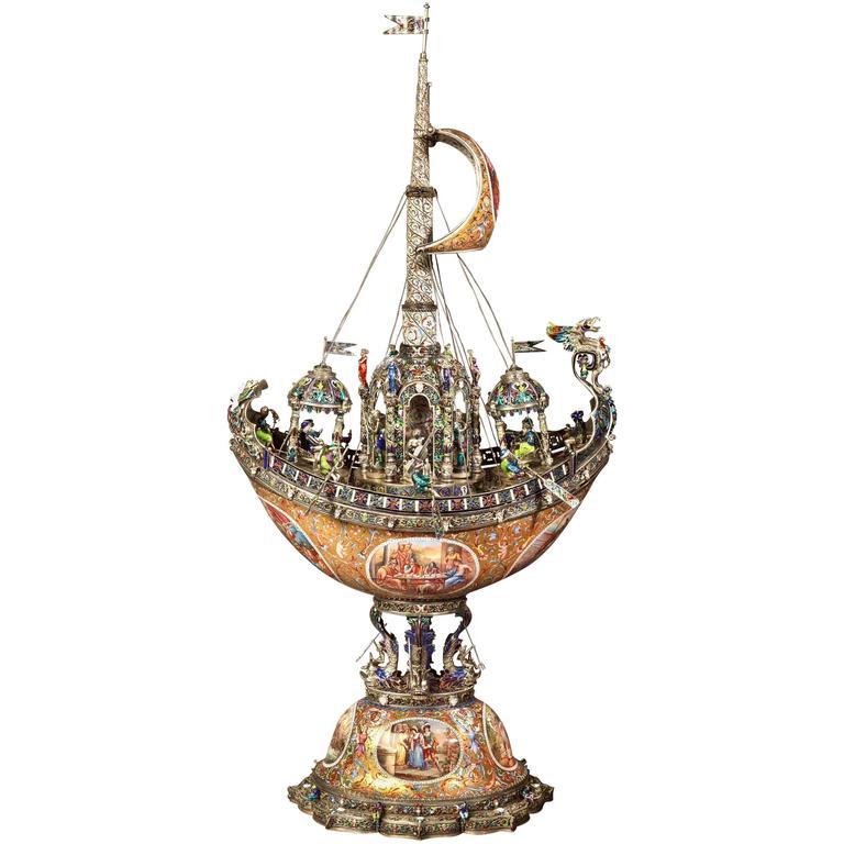 19th Century Viennese Nef of Silver and Enamel by Hermann Böhm