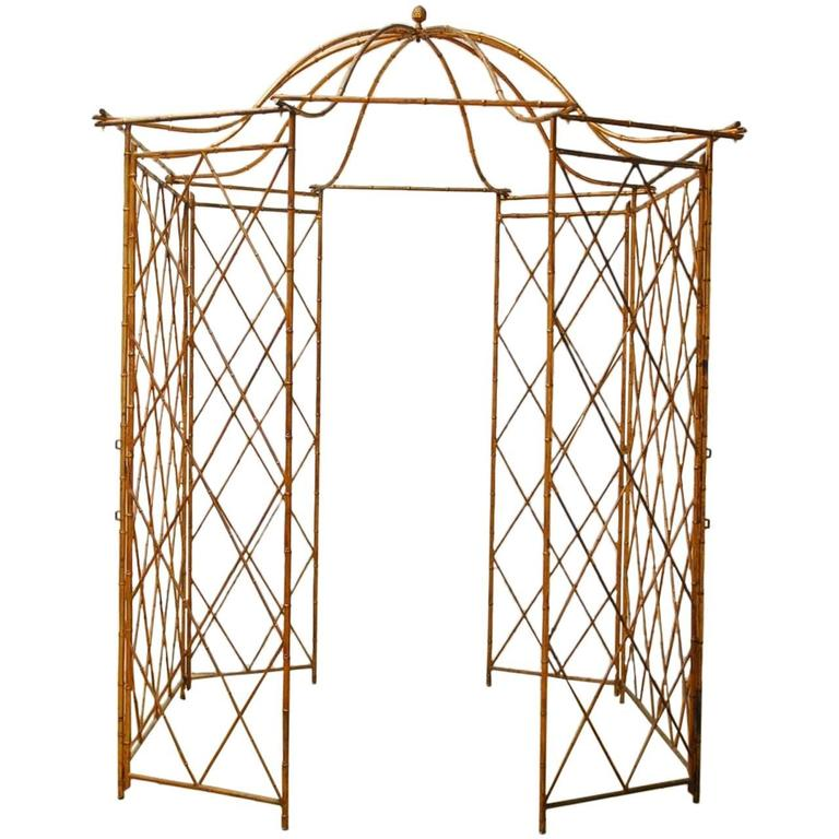 Gilt Metal Faux Bamboo Gazebo with Pagoda Roof For Sale