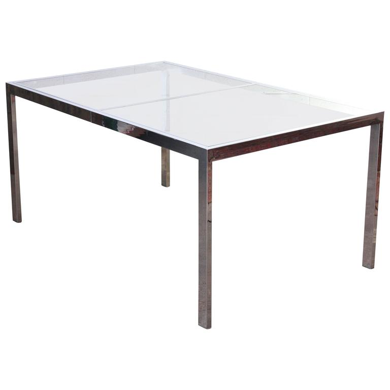 chrome and glass dining table milo baughman for sale at 1stdibs. Black Bedroom Furniture Sets. Home Design Ideas