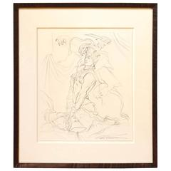 Signed Study by Fashion Illustrator Antonio Lopez