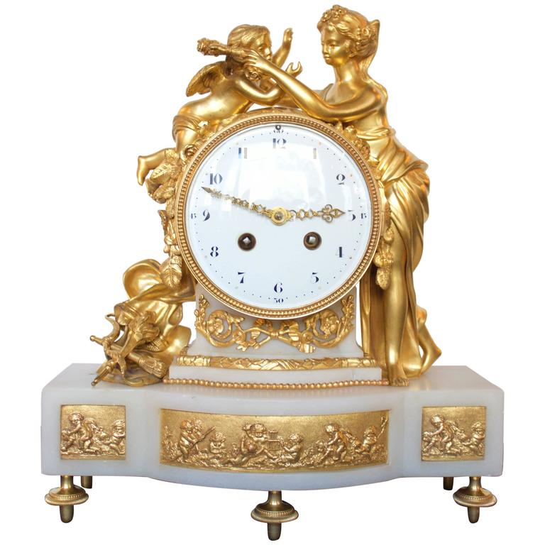 French 19th Century Gilt Bronze and Marble Mantel Clock of Psyche and Eros For Sale