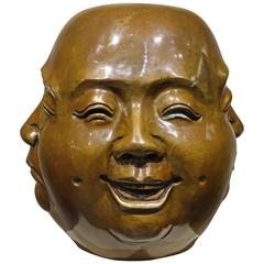 Chinese Bronze Four-Faced Head, China, Late 19th Century