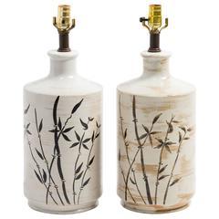Pair of Ceramic Bamboo Table Lamps
