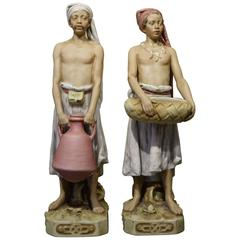 Pair of Royal Dux Bisque Porcelain with Oriental Figures, circa 1900-1910
