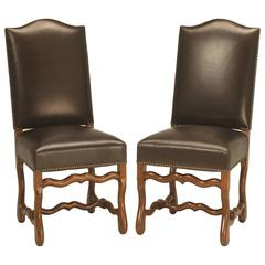 Pair Vintage French Leather Side Chairs