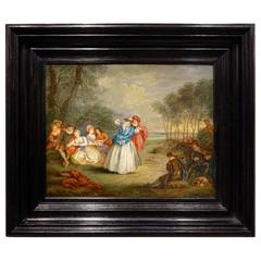 Pair of Oils on Panel in the Taste of Jean Antoine Watteau, France, 19th Century