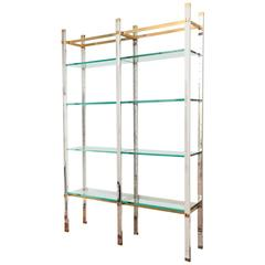 Contemporary Design Chrome and Polished Brass Four-Tier Etagere