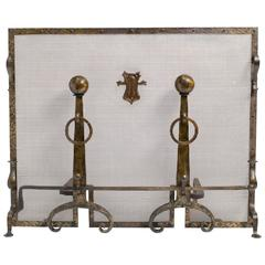 Arts & Crafts Hammered Andirons and Screen