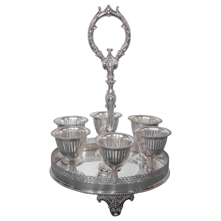 Sheffield Marked Silvered Eggcup Cruet For Sale