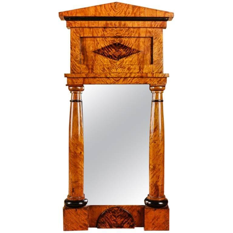 19th Century Biedermeier Style Birch Mirror