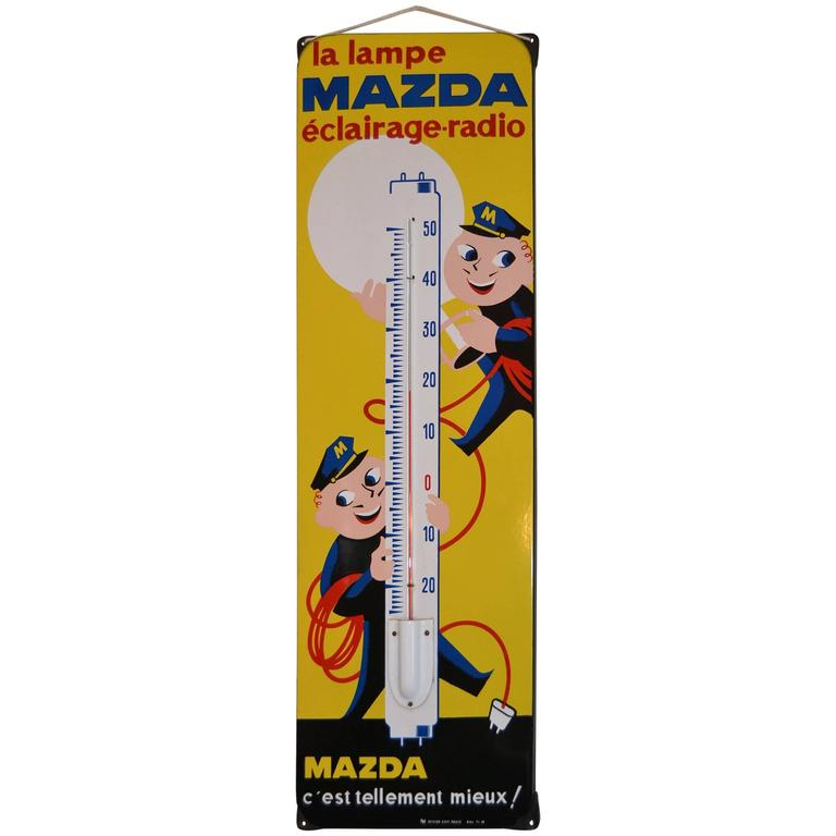 1950s French Enamel Sign Mazda Lamps with Thermometer