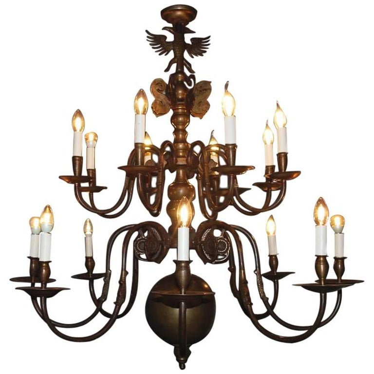 20th Century Large Brass Chandelier For Sale