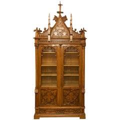 Mid-19th Century Historicism Style Neo-Gothic Oak Bookcase