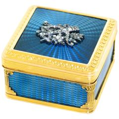 Antique French Enamel and Diamond Set Gold Box