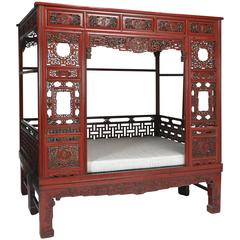 Antique Red Lacquer Gilt Six-Posted Carved Canopy Wedding Bed, Chinoiserie