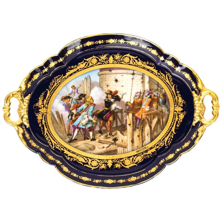 19th Century French Sevres Porcelain Tray Signed Moreaux For Sale